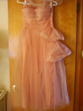 Vintage 1950s Shimmery Pink PROM Party Dress GOWN Strapless Tulle Netting Medium