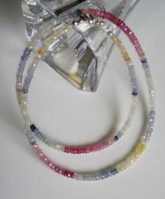 Saphirkette multicolor - 925 Silber Karabiner - Saphir - 40 Karat - Safir -Kette