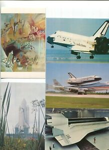 Group of 7 Space Shuttle related Postcards - Columbia and Enterprise