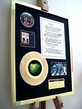 "THE BEATLES SOMETHING 7"" SINGLE GOLD RECORD + HAND-WRITTEN LYRICS RECORD DISPLAY"