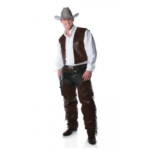 Western Brown Faux Leather Cowboy Fringed Chaps & Vest Costume Outfit Adult Men