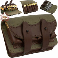 Leather Rifle Ammo Pouch Cartridge Holder 12 Gauge / 308 Brown Green