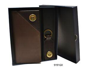 Men's Genuine Leather Shot Shell Two-Tone Super Jumbo Wallet w/ Key Fob Gift Set