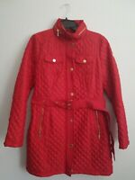 MICHAEL KORS Red Diamond Quilted Zip Up Snap Button Belted Coat Jacket SMALL