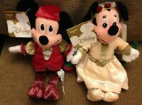 """RARE DISNEY STORE MICKEY AND MINNIE MOUSE  8"""" ROMEO AND JULIET SOFT PLUSH BEANIE"""
