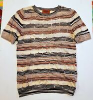 New MISSONI Orange Label Short Sleeve Stripe Crewneck Top Multi Pink Beige - XS