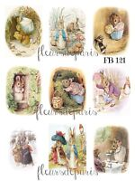 ~ Vintage Beatrix Potter Characters Story Book 9 Prints on Fabric FB 121 ~