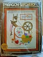 "Vintage '82 Paragon Stitchery Embroidery Old Spinning Wheel 20"" X 16"" NEW #0944"