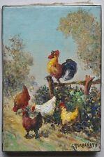 Tableau Scène de Basse Cour poules et coqs peinture sign Gena Pechaubes née 1923