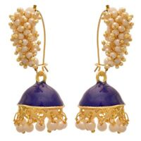 Indian Ethnic Gold Plated Pearl Traditional Blue Meenakari Fashion Earrings Set