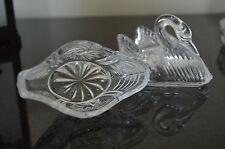 Crystal Swan Trinket box Trinket dish w/ Lid Ring Earrings Jewelry Glass #L