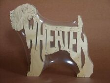 Soft Coated Wheaten Terrier Dog Wood Puzzle Toy Figurine Art