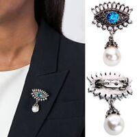 Women Pearl Brooch Rhinestone Crystal Brooches Party Wedding Bridal Evil Eye Pin