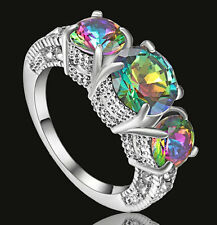 Size 8 Princess Cut Mystic Rainbow Topaz Engagement Ring White Plated Party