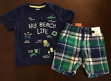 NWT Gymboree Boy Tide Pool Navy My Beach Life Tee & Plaid Shorts Outfit 12-18 M