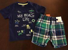 NWT Gymboree Boy Tide Pool Navy My Beach Life Tee & Plaid Shorts Outfit 12-18 M
