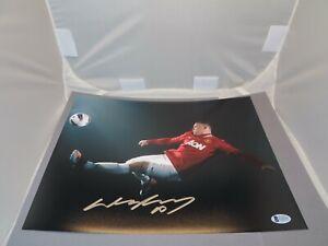 Wayne Rooney Signed Manchester United 11x14 Photo Soccer Auto Beckett BAS COA 1A