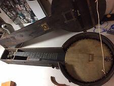 Original  1887 Antique Brass Banjo In Wooden Case