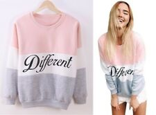 Damen Pullover Blogger Pulli Strickjacke Sweatshirt Different Rosa Grau Langarm