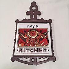 Kay's Kitchen Trivet Personalized Vintage Metal Porcelain