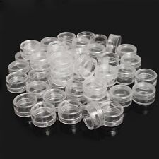 Storage Box Clear Plastic Jewelry Bead Small Round Container Make Up Organizer