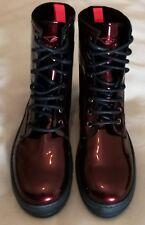 BUFFALO Women's Lace-up Ankle Boots Burgundy Patent Size uk 6.5 eu 40