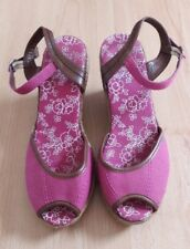 Gorgeous Pink Canvas Ankle Strap Rope Wedges Shoes from M&S - Size 5 - Great!