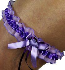 satin jarretière Violet / violet avec cœur et ruban organza satin mariée UE