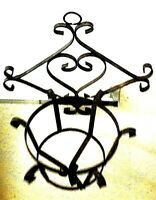 Wrought Iron Rare Antique 3-D Large Rustic Plant Hanger Holder Shabby Chic