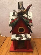 """Nature Creations Hand Crafted Wood Wooden Birdhouse bird house 13"""" tall"""
