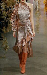 NEW $995 ULLA JOHNSON Catroux Metallic Silk Blend Blouse In Sparkle 2