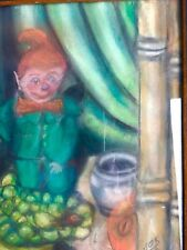 "Vintage pastel painting original art Smokey the Leprechaun Framed Elf 9"" x 9.5"""