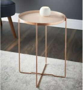 STUNNING ROSE GOLD SIDE TABLE COFFEE TABLE COPPER EFFECT TABLE DECO GLAM
