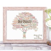 Personalised OUR FAMILY TREE Word Art Print Gift, Autumn Home Gift Mother's Day