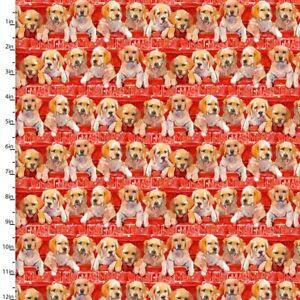 Christmas Fabric - Santa's Helpers Puppy Stripe Digital - Quilter's Palette YARD