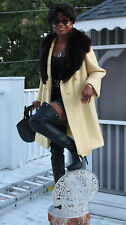 Designer Couture Swing Style Yellow wool & russian Sable fur Jacket Coat  M 4-10