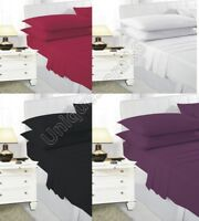 PLAIN DYED Fitted BED Sheets DIFFERENT COLORS SINGLE DOUBLE BUNK KING ALL SIZES