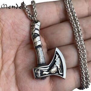 MENDEL Mens Viking Wolf Raven Axe Pendant Necklace Stainless Steel Chain Set Men