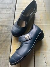 New $115 Size 6(DW) Propet W0807 Women's Navy Leather Antonia Mary Jane Flats