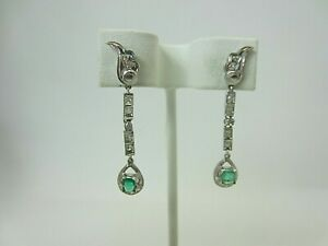 Vintage Antique 14k White Gold Emerald and Diamond Dangle Earrings 0.74 ct TW