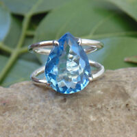 Pear Faceted Blue Topaz Gemstone 925 Sterling Silver Ring Size 8