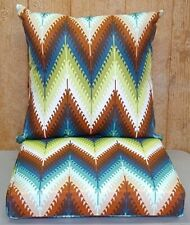 Pueblo Flame Stitch 2-Pc Outdoor Dining Seat Cushion Set 21x21x6 / 21x21x4.5 NEW
