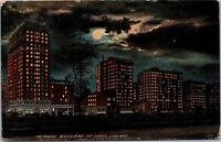 Michigan Boulevard at Night, Chicago IL Vintage Postcard I04