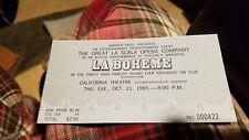 la boheme california theatre ticket stub 1965