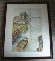 Nautical Watercolor Coastal Tidal Creek Scene by Artist Weddle Signed Original