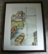 Nautical Watercolor Coastal Tidal Creek Scene by Artist Weddle Signed Original