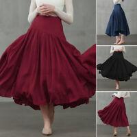 Damen Lange Kleid Faltenkleid Strand Bohemian Prom Abend Baggy Plissee Maxikleid