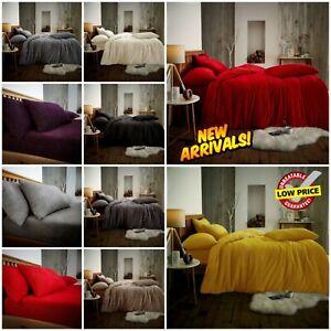Teddy Bear Fleece Duvet Quilt Cover 30cm Deep Fitted Sheet Pillowcase Bedding