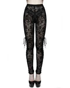 Devil Fashion Womens Gothic Leggings Black Flock Velvet Mesh Lace Up Skull Cross