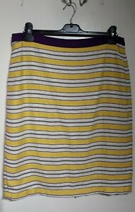 Boden Yellow Purple Striped Skirt Size 14R Cotton Pencil Style Lined
